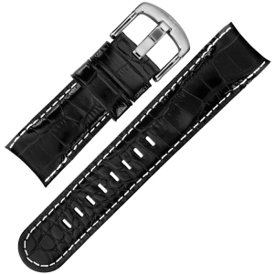 TW Steel Grandeur Uhrenarmband TW51 - Schwarzes Kalbsleder Krokoprint 24mm