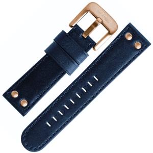 TW Steel Uhrenarmband Blau 24mm Schliesse roségoldfarbig - TW405, TW407, CE6001