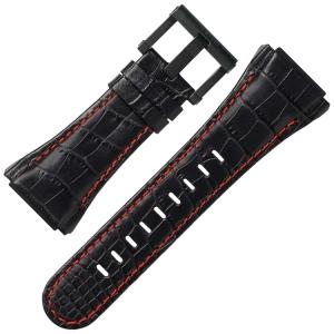 TW Steel Uhrenarmband CE4008 CEO Tech 44mm - Leder Schwarz, Rote Naht 30mm