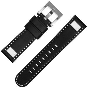 TW Steel Uhrenarmband Schwarzes Kalbsleder Universell Square Stud - 22mm