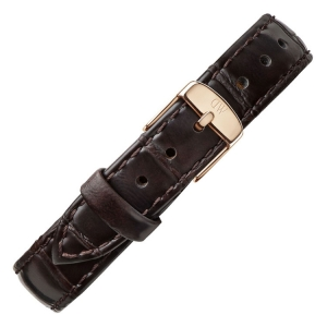 Daniel Wellington 14mm Petite York Uhrenarmband Leder Dunkelbraun mit Roséschliesse
