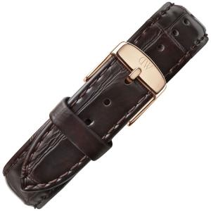 Daniel Wellington 17mm Dapper York Uhrenarmband Leder Dunkelbraun mit Roséschliesse