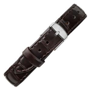 Daniel Wellington 12mm Petite York Uhrenarmband Leder Dunkelbraun mit Stahlschliesse