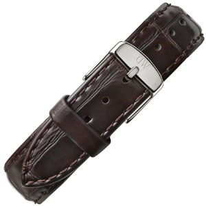 Daniel Wellington 18mm Uhrenarmband Classic York Crocograin Leder Dunkelbraun Stahlschliesse