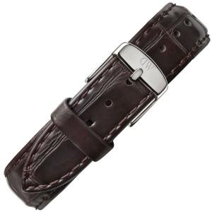 Daniel Wellington 17mm Dapper York Uhrenarmband Leder Dunkelbraun mit Stahlschliesse