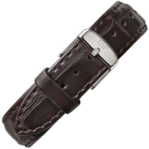 Daniel Wellington 20mm Classic York Uhrenarmband Crocograin Leder Dunkelbraun mit Stahlschliesse