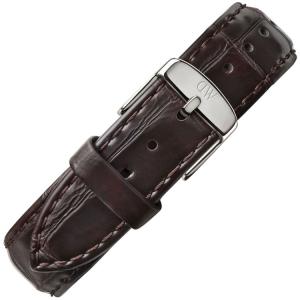 Daniel Wellington 19mm Dapper York Uhrenarmband Leder Dunkelbraun mit Stahlschliesse