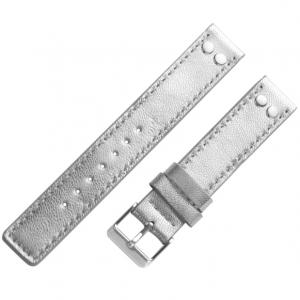OOZOO Uhrenarmband Leder Silber mit Nieten