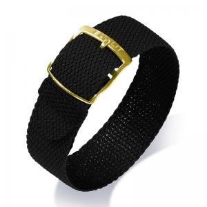 Eulit Perlon Uhrenarmband Kristall Schwarz mit goldfarbiger Schliesse