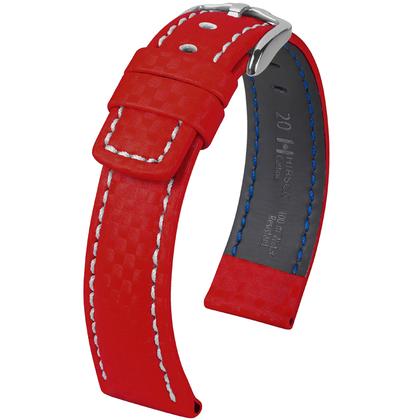 Hirsch Carbon Uhrenarmband 100 m Water-Resistant Rot