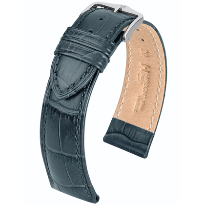 Hirsch Duke Uhrenarmband Alligatorgrain Grau