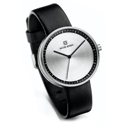 Jacob Jensen Uhrenarmband Strata 280, 284 Leder Schwarz 16mm