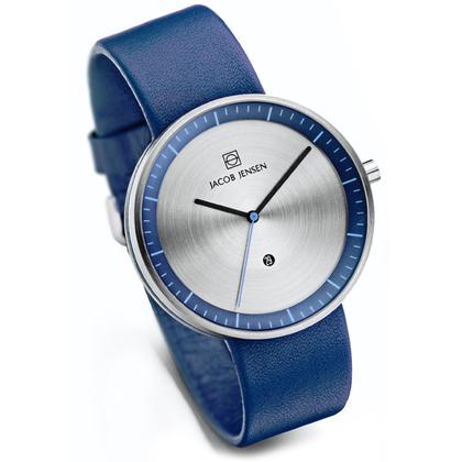 Jacob Jensen Uhrenarmband Strata 272, Leder Blau 20mm