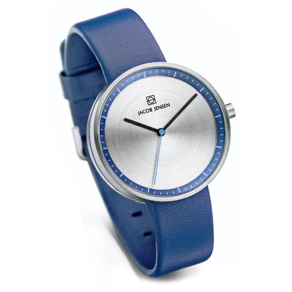 Jacob Jensen Uhrenarmband Strata 282, Leder Blau 16mm