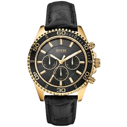 Guess Uhrenarmband W0171G3 - Schwarzes Leder mit Kroko-Struktur