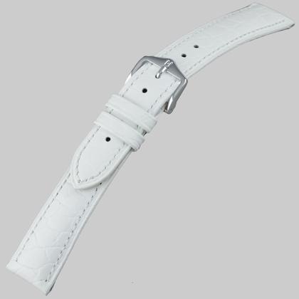 Hirsch Aristocrat Uhrenarmband Crocograin Weiss
