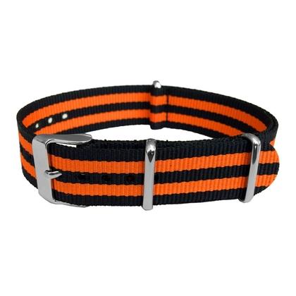 """Schwarz Orange """"Orange Bond"""" NATO Uhrenarmband Nylon mit Austauschbarer Schliesse"""