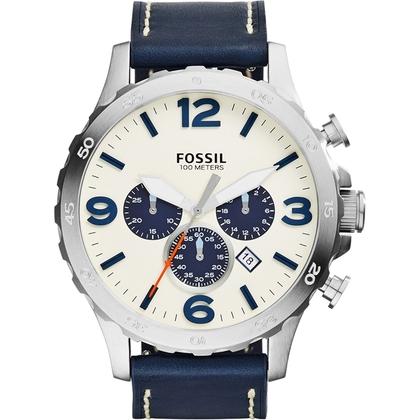 Fossil JR1480 Uhrenarmband Leder Blau
