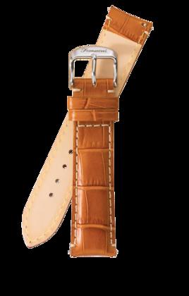 Fromanteel Alligatorgrain Uhrenarmband Hellbraun mit Weisser Naht