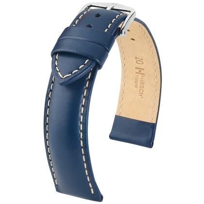 Hirsch Trooper Uhrenarmband Kalbsleder Blau