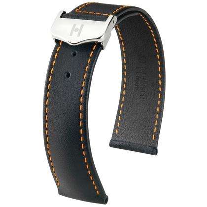Hirsch Voyager Uhrenarmband für Omega Faltschliesse Italienisches Kalbsleder Schwarz Orangene Naht