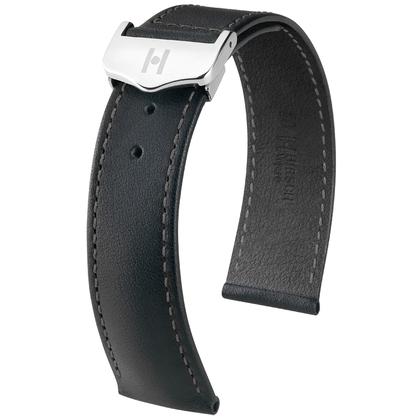 Hirsch Voyager Uhrenarmband für Omega Faltschliesse Italienisches Kalbsleder Schwarz