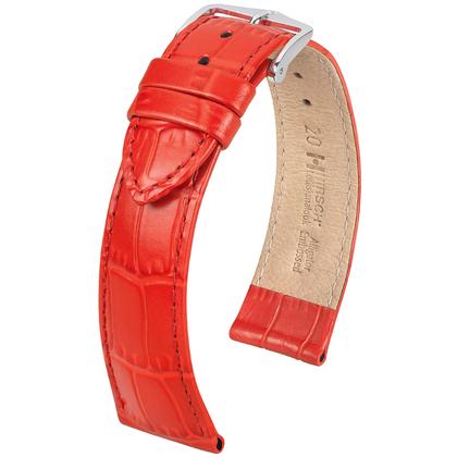 Hirsch Louisianalook Alligatorprint Uhrenarmband Rot