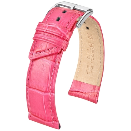 Hirsch Princess Uhrenarmband Alligatorgrain Rosa