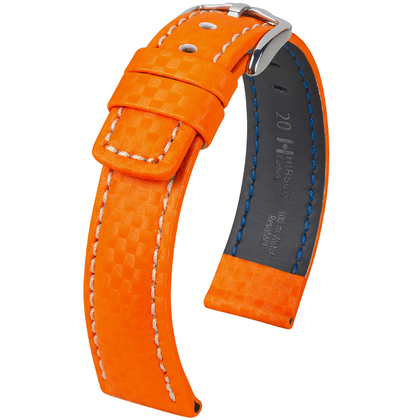Hirsch Carbon Uhrenarmband 100 m Water-Resistant Orange