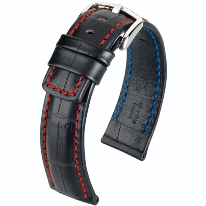 Hirsch Grand Duke Uhrenarmband 100m Alligator Relief Schwarz/Rot