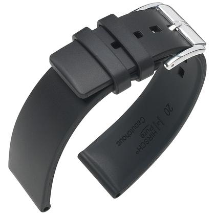 Hirsch Pure Uhrenarmband Premium Kautschuk Schwarz