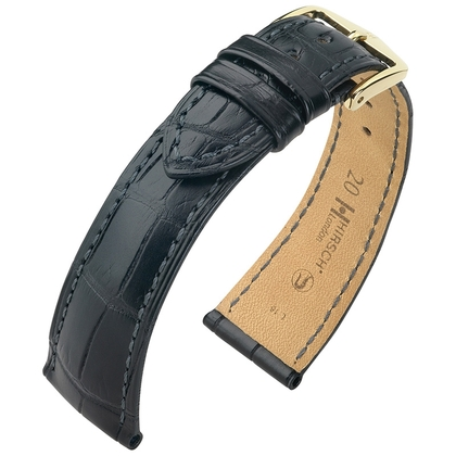 Hirsch London Louisiana Alligator Uhrenarmband Matt Schwarz