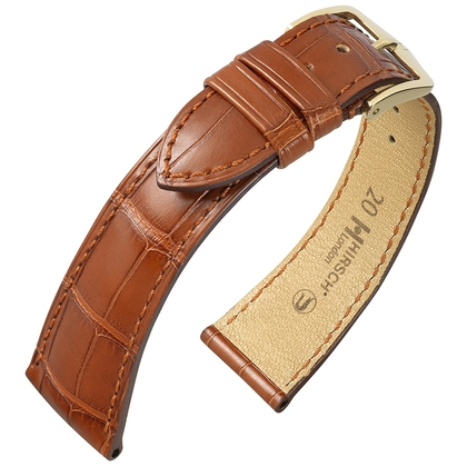 Hirsch London Louisiana Alligator Uhrenarmband Matt Goldbraun