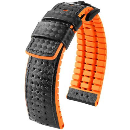 Hirsch Ayrton Performance Uhrenarmband Schwarz / Orange / Leder / Kautschuk 300m WR