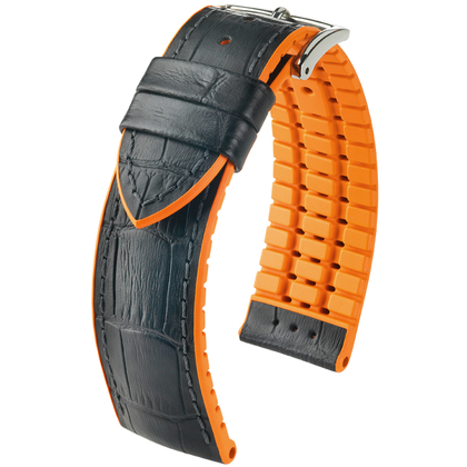 Hirsch Andy Performance Uhrenarmband Schwarz / Orange / Leder / Kautschuk