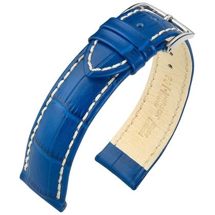 Hirsch Modena Uhrenarmband Alligatorgrain Ozean-Blau