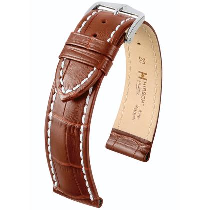 Hirsch Modena Uhrenarmband Alligatorgrain Goldbraun