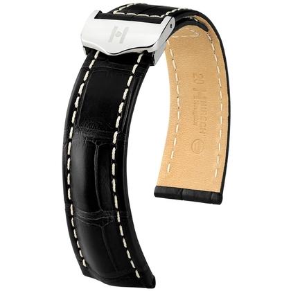 Hirsch Navigator Uhrenarmband für Breitling Faltschliesse Louisiana Alligator Matt Schwarz