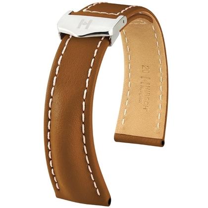 Hirsch Navigator Uhrenarmband für Breitling Faltschliesse Italienisches Kalbsleder Goldbraun