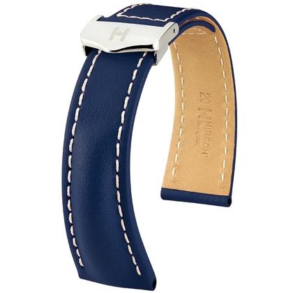 Hirsch Navigator Uhrenarmband für Breitling Faltschliesse Italienisches Kalbsleder Blau