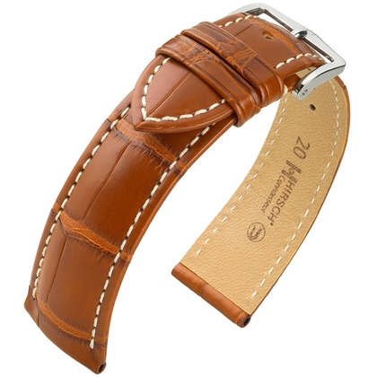 Hirsch Connoisseur Uhrenarmband Louisiana Alligatorleder Goldenbraun Matt