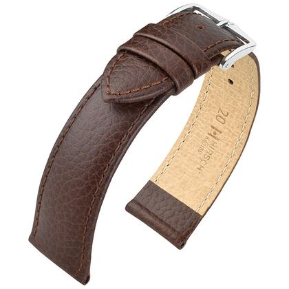 Hirsch Kansas Uhrenarmband Kalbsleder Büffelstruktur Braun