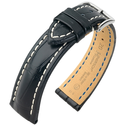 Hirsch Capitano Louisiana Alligator Uhrenarmband 100m WR Halb-Matt Schwarz