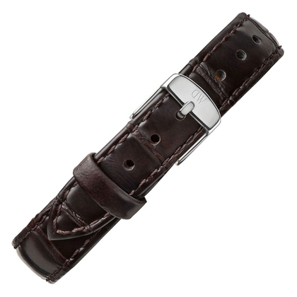 Daniel Wellington 14mm Petite York Uhrenarmband Leder Dunkelbraun mit Stahlschliesse