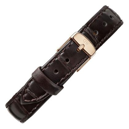 Daniel Wellington 12mm Petite York Uhrenarmband Leder Dunkelbraun mit Roséschliesse