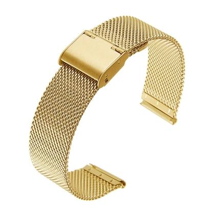 Mesh / Milanaise Uhrenarmband Fein Gewebter Stahl Goldfarbig