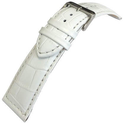 Alligator Kalbsleder Uhrenarmband Lenzers Weiss 24mm