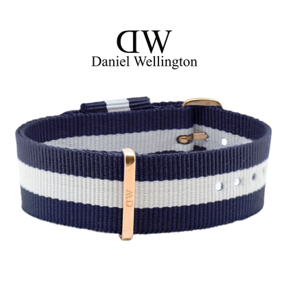 Daniel Wellington 20mm Classic Glasgow NATO Uhrenarmband mit Roségoldfarbiger Schliesse