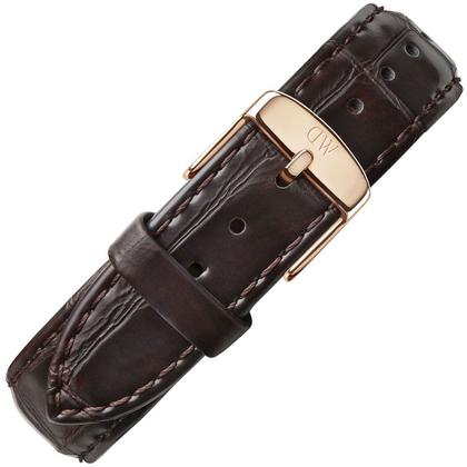 Daniel Wellington 20mm Classic York Uhrenarmband Crocograin Leder Dunkelbraun mit Roséschliesse