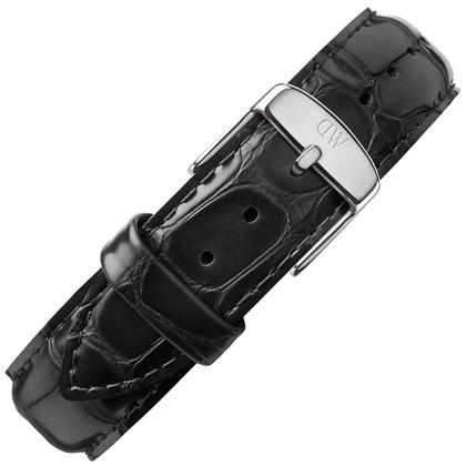 Daniel Wellington 17mm Dapper Reading Uhrenarmband Leder Schwarz mit Stahlschliesse